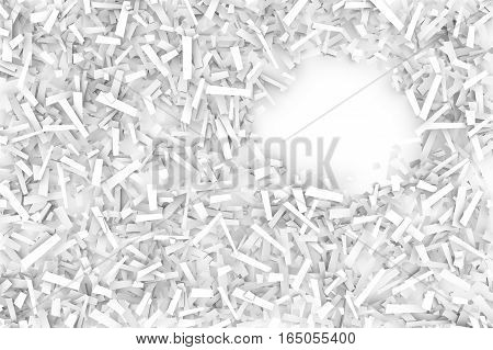 A tangled pile of white geometric confetti shapes on a bright background. 3D illustration. Space for text upper right.