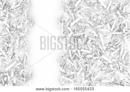 A tangled pile of white geometric confetti shapes on a bright background. 3D illustration. Space for text left.