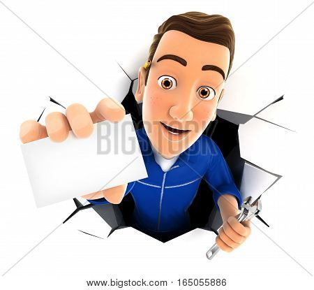 3d mechanic coming out through a wall with company card illustration with isolated white background