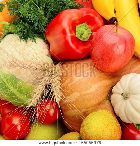 A bright background of fruits and vegetables