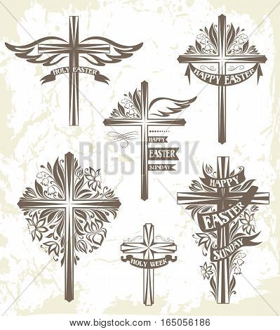 Set of easter crosses with floral decorations and ribbons. Monochrome variant
