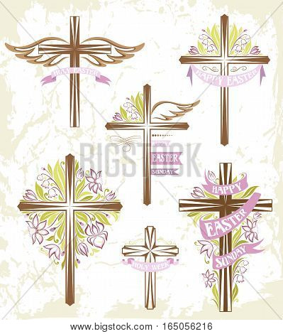 Set of easter crosses with floral decorations and ribbons