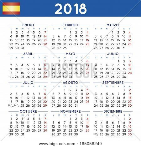 Year 2018 Squared Calendar Spanish Week Starts On Monday