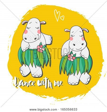 Two Hippo dancing in a skirt of leaves and the words