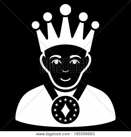 King vector icon. Flat white symbol. Pictogram is isolated on a black background. Designed for web and software interfaces.