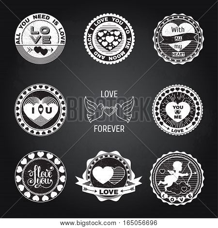 Set of love stamps. Perfect for Valentine's Day greetings invitations to weddings and other romantic collages.Isolated elements on a black chalkboard background.