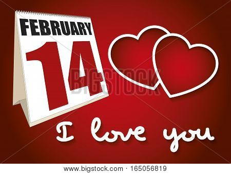 Valentines Day Calendar Sheet February 14 I Love You