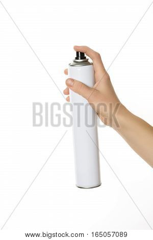 Barber hands holding hair spray isolated on white.