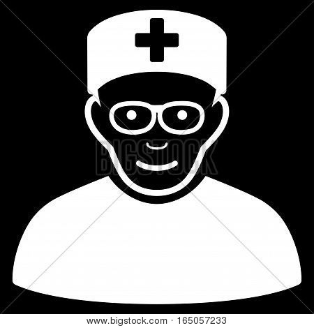 Medical Specialist vector icon. Flat white symbol. Pictogram is isolated on a black background. Designed for web and software interfaces.