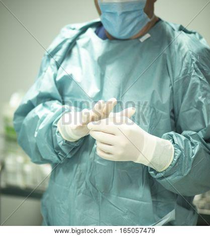 Surgeon Putting On Gloves