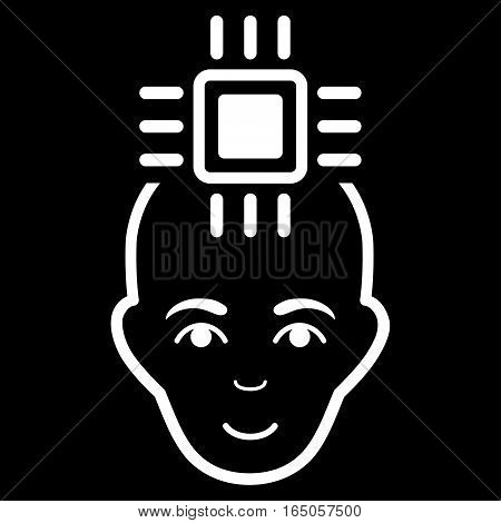 Neural Computer Interface vector icon. Flat white symbol. Pictogram is isolated on a black background. Designed for web and software interfaces.