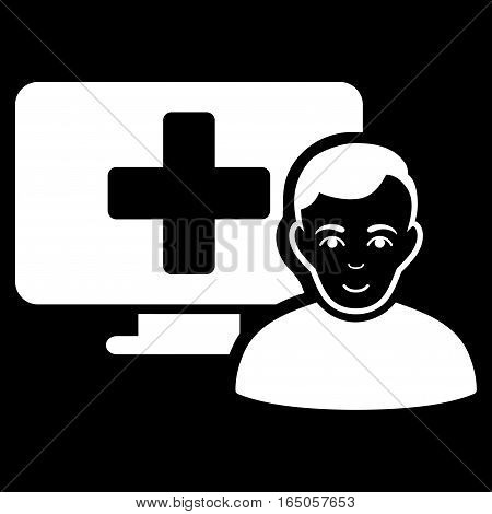 Online Medicine vector icon. Flat white symbol. Pictogram is isolated on a black background. Designed for web and software interfaces.