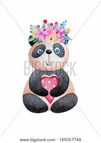 Sitting cartoon panda with flowers on his head and heart in his paws in watercolor. Hand drawn illustration isolated on white background.