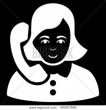 Receptionist vector icon. Flat white symbol. Pictogram is isolated on a black background. Designed for web and software interfaces.