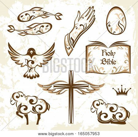 Set of decorative holy Easter icons. Ornamental design elements.