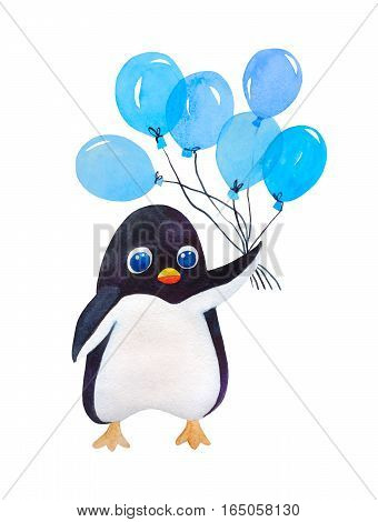 Cute cartoon penguin with blue balloon isolated on white in watercolor.