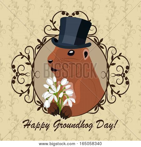 Groundhog day greeting card with cute marmot in black hat with flowers sitting in vintage frame.