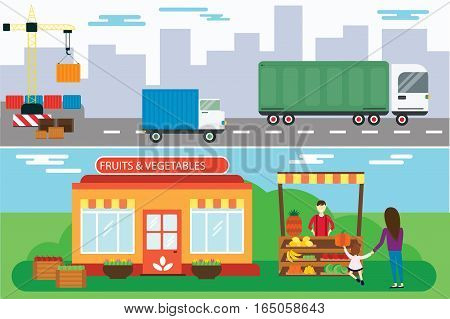 Street seller with stall with fruits and vegetables vector illustration. Supermarket stand with healthy organic food. Produce business retail store. Ship cargo truck transportation.