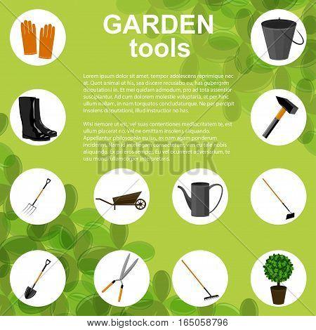 Set of various gardening items. Garden tools concept design. Vector illustration.