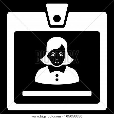 Woman Badge vector icon. Flat white symbol. Pictogram is isolated on a black background. Designed for web and software interfaces.