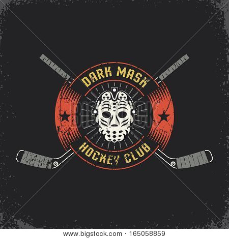 Hockey logo with retro goalie mask and crossed sticks. Layered vector illustration - grunge texture text background separately and can be easily disabled.
