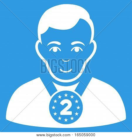 2nd Prizer Sportsman vector icon. Flat white symbol. Pictogram is isolated on a blue background. Designed for web and software interfaces.