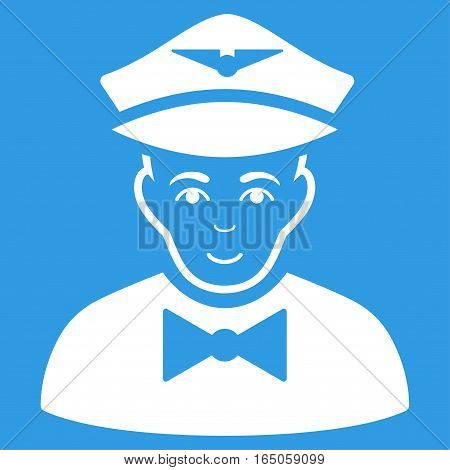 Airline Steward vector icon. Flat white symbol. Pictogram is isolated on a blue background. Designed for web and software interfaces.