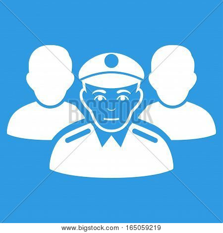 Army Team vector icon. Flat white symbol. Pictogram is isolated on a blue background. Designed for web and software interfaces.