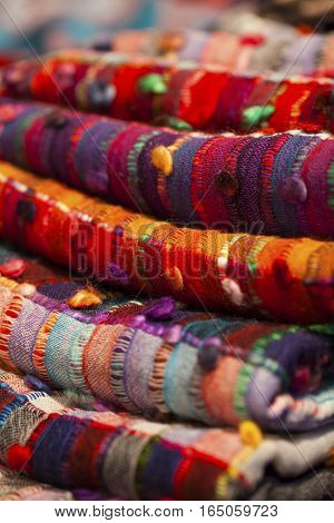 Image of wool and silk scarfs in a asian market