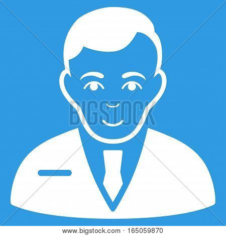 Businessman vector icon. Flat white symbol. Pictogram is isolated on a blue background. Designed for web and software interfaces.