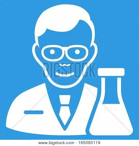 Chemist vector icon. Flat white symbol. Pictogram is isolated on a blue background. Designed for web and software interfaces.