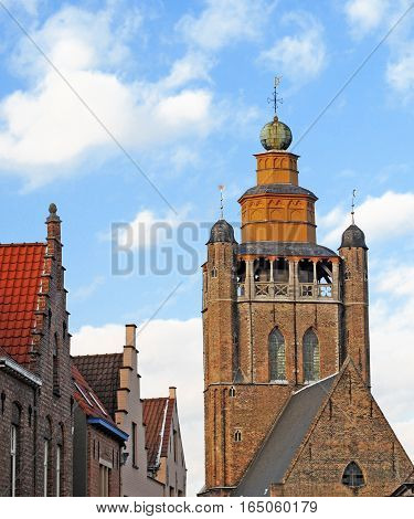 Church of Jerusalem and steproofed houses in Bruges; Belgium; Europe