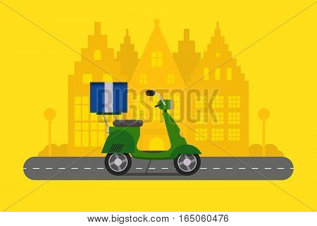 Delivery transport cargo logistic vector illustration. Commercial highway industrial city motorbike. Fast shipment distribution export courier scooter.