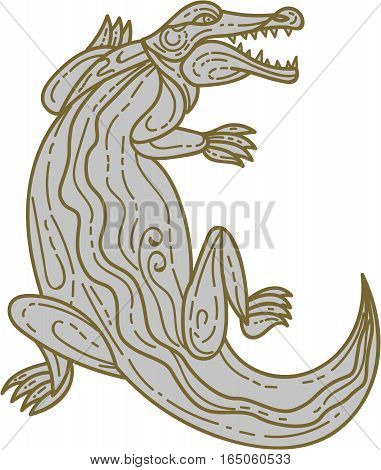 Mono line style illustration of an alligator or crocodile climbing up viewed from front set on isolated white background.