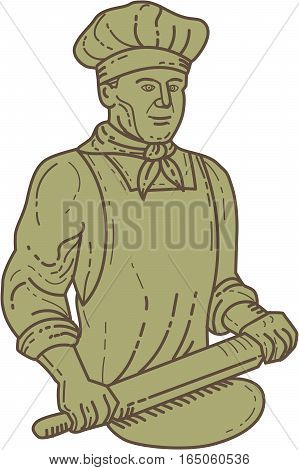 Mono line style illustration of a baker chef cook holding rolling pin rolling on dough viewed from front set on isolated white background.