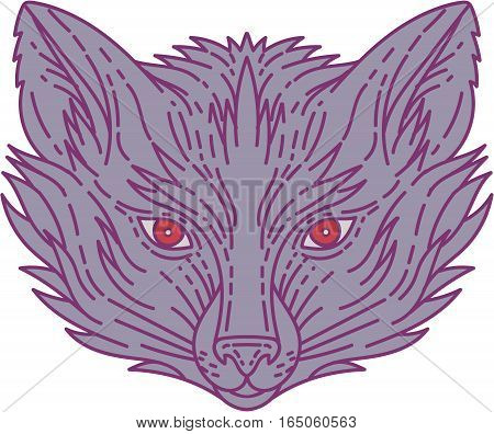 Mono line style illustration of a fox head viewed from the front set on isolated white background.