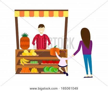 Street seller with stall with fruits and vegetables vector illustration. Supermarket stand with healthy organic food. Produce business retail store.