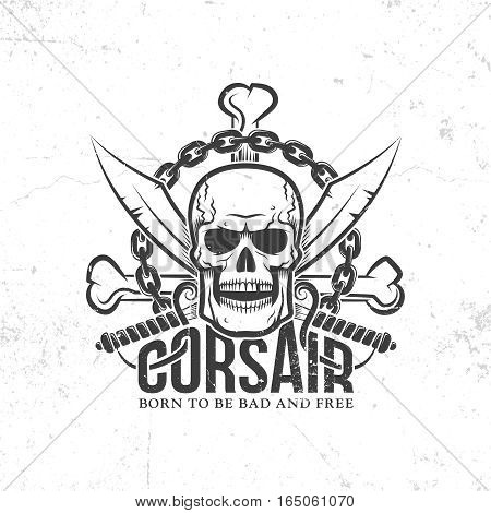 corsair pirate logo jolly roger with skull crossed swords bones chain. grunge texture on separate layers and can be easily disabled.