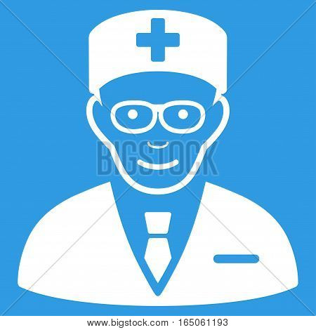 Head Physician vector icon. Flat white symbol. Pictogram is isolated on a blue background. Designed for web and software interfaces.