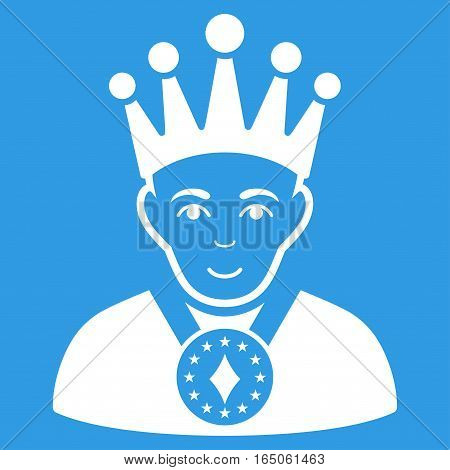 King vector icon. Flat white symbol. Pictogram is isolated on a blue background. Designed for web and software interfaces.