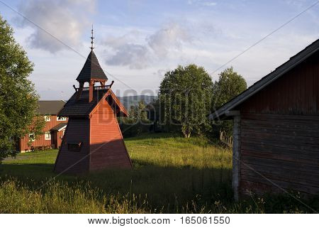 Bell tower on a Norwegian farm in the Gausdal
