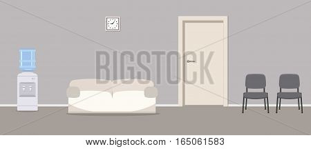Waiting hall. Corridor. There are gray chairs, a water cooler, a white sofa near the door in the picture. Vector flat illustration.