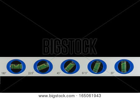 Bubble level with five different angles on black background