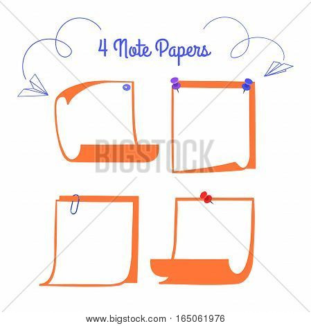 Four pinned note papers in cartoon style, linear memo with curled corners, isolated note paper on white background, EPS 8