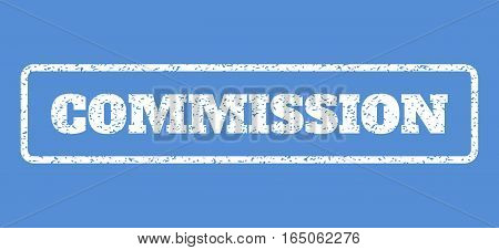 White rubber seal stamp with Commission text. Vector caption inside rounded rectangular shape. Grunge design and unclean texture for watermark labels. Horisontal sign on a blue background.