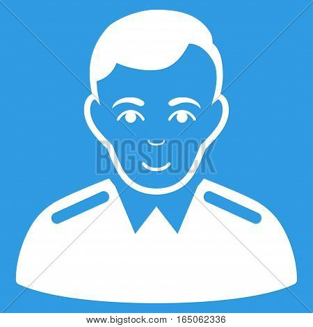 Officer vector icon. Flat white symbol. Pictogram is isolated on a blue background. Designed for web and software interfaces.
