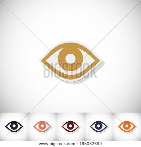 Eye. Flat sticker with shadow on white background. Vector illustration
