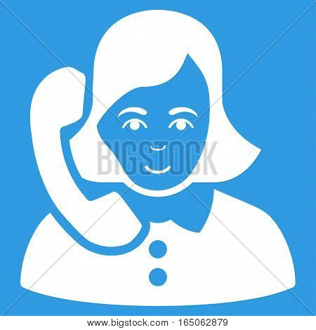 Receptionist vector icon. Flat white symbol. Pictogram is isolated on a blue background. Designed for web and software interfaces.