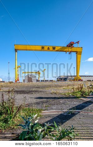 BELFAST, NORTHER IRELAND, UK- SEPTEMBER 25 2016: Samson and Goliath. Twin shipbuilding gantry cranes in Titanic quarter famous landmark of Belfast Norther Ireland. Goliath is in the foreground.