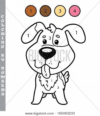 Vector illustration coloring by numbers educational game with cartoon dog for kids